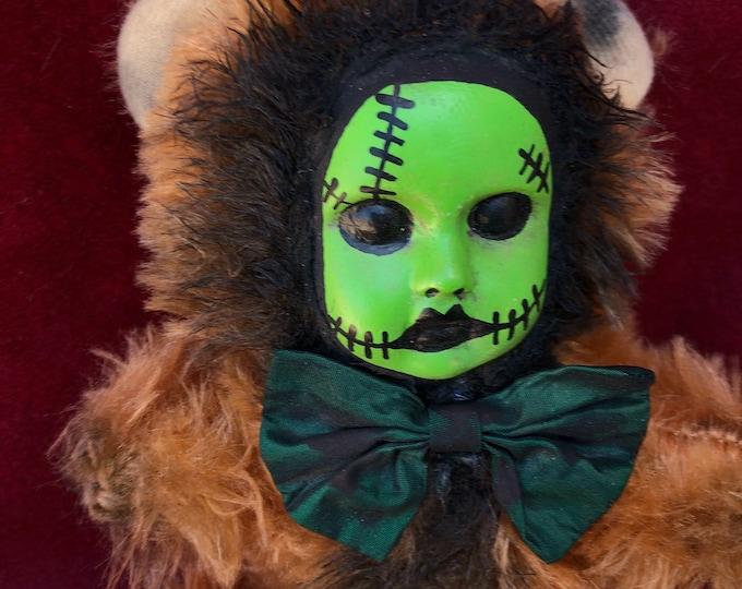 Free usa shipping Creepy doll ooak spooky teddy bear plush frankenstein halloween horror art by christie creepydolls