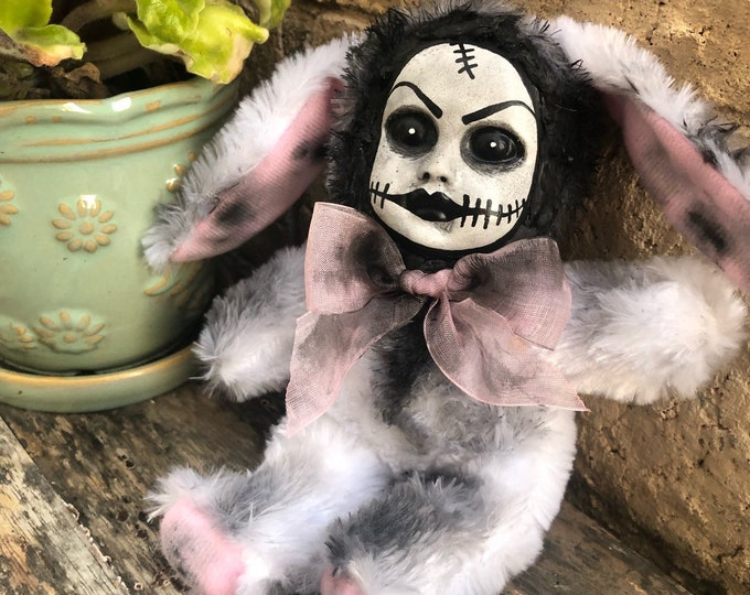 creepy doll white bunny rabbit easter halloween horror stitches ooak plush by christie creepydolls