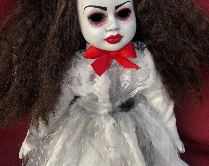 Free usa shipping Creepy doll sitting red lips ghost girl in white spooky ooak gothic horror halloween art by christie creepydolls