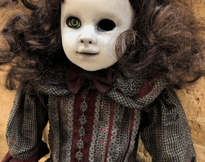 Creepy larger doll mourning funeral death child with one eye  spooky ooak gothic horror halloween art by christie creepydolls