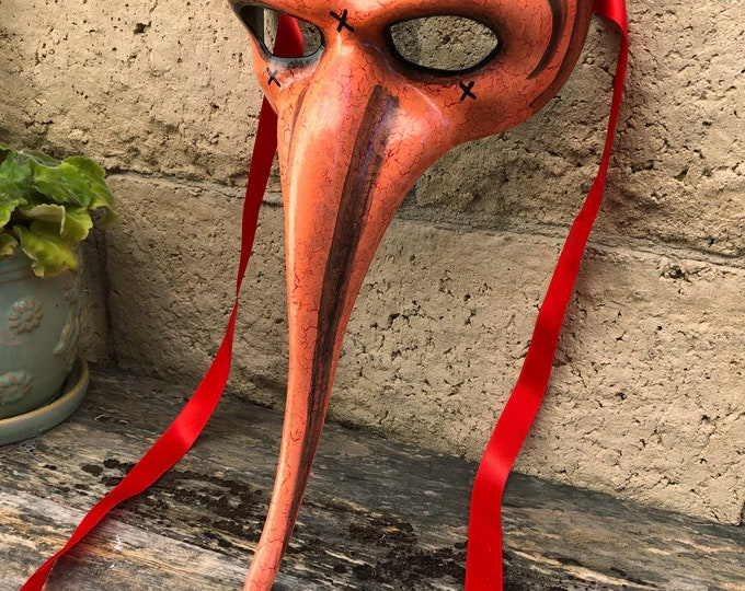 Red and peach mask halloween costume plague doctor bird mask hand painted Black Death renn faire fetish adjustable tie back
