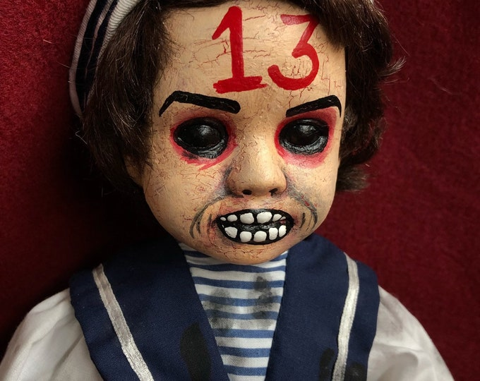 creepy unlucky 13 sailor boy doll spooky ooak gothic horror halloween art by christie creepydolls