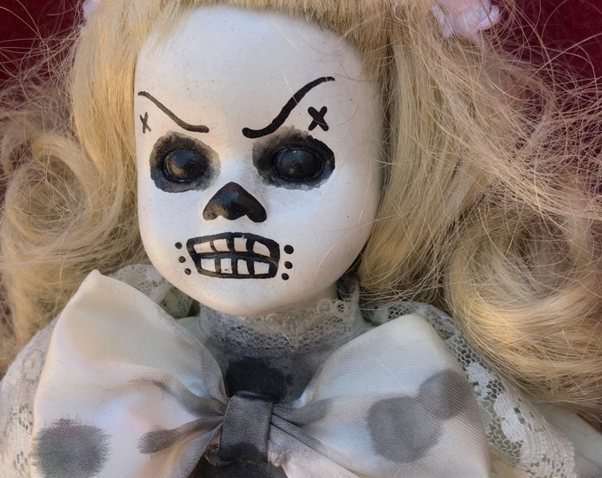 Free usa shipping creepy doll smaller day of the dead girl spooky ooak gothic horror halloween art by christie creepydolls