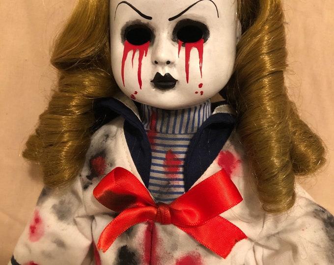 creepy doll weeping tears of blood sailor girl spooky ooak gothic horror halloween art by christie creepydolls