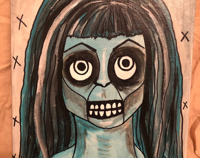 Creepy zombie skeleton woman original art acrylic monotone outsider art painting by christiecreepydolls