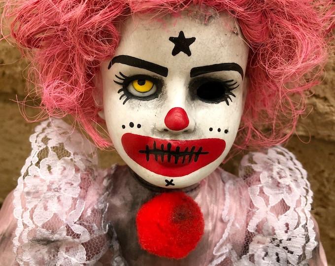 Creepy doll one yellow eye clown lady in pink ooak gothic horror halloween art by christie creepydolls