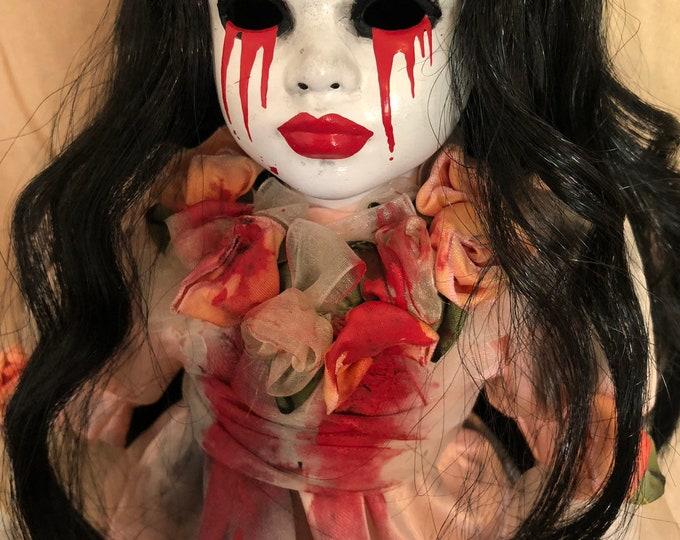 creepy doll weeping tears of blood black hair girl spooky ooak gothic horror halloween art by christie creepydolls