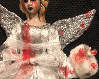Creepy doll ooak halloween horror weeping angel tears of blood christmas tree topper by christiecreepydolls
