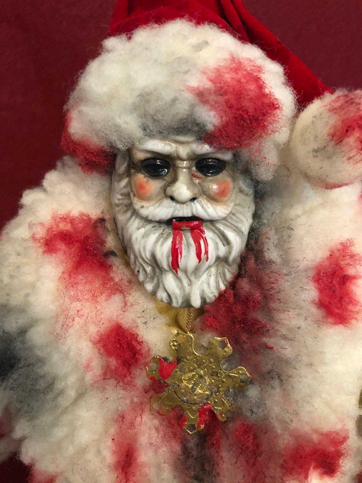 Bloody Christmas Tree.Sale Creepy Doll Ooak Halloween Santa Claus Blood Christmas