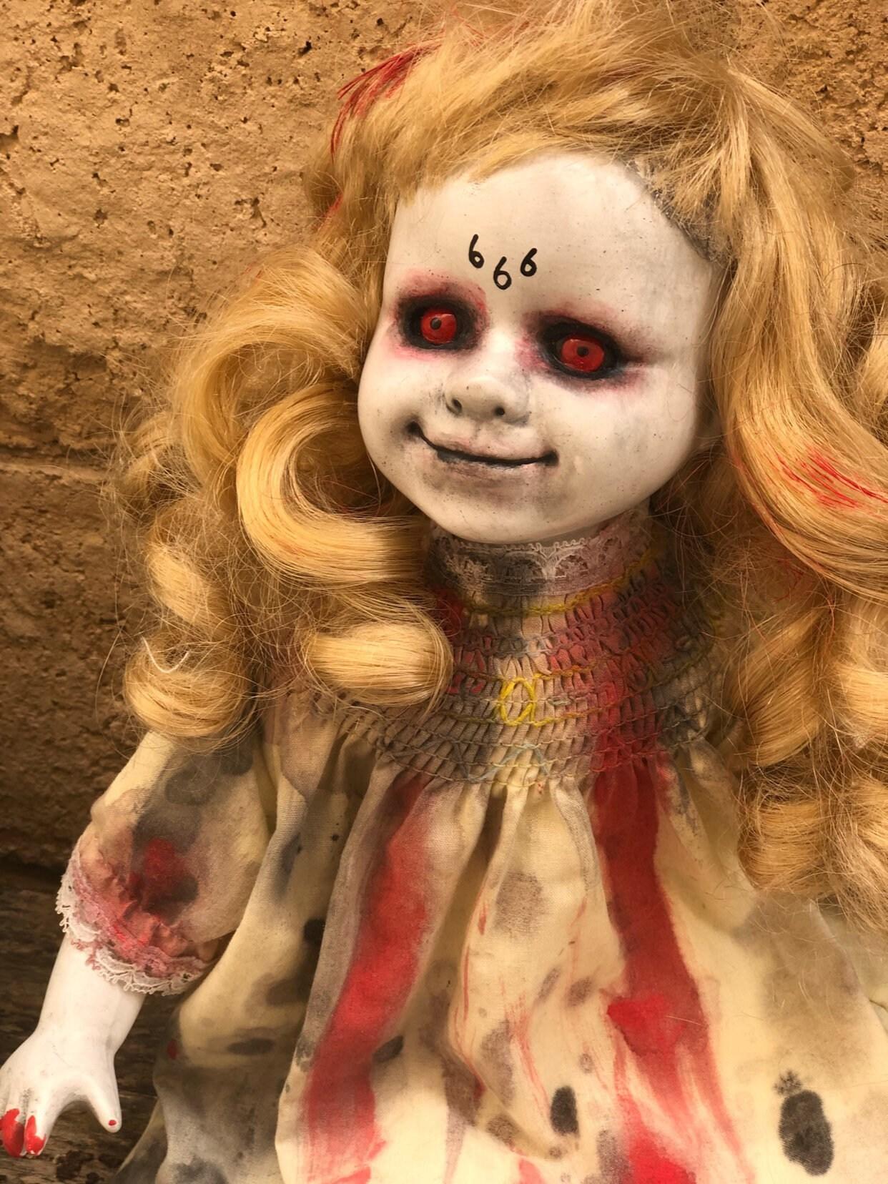 2279a5c25 Creepy doll 666 evil possessed demon devil girl ooak gothic horror ...