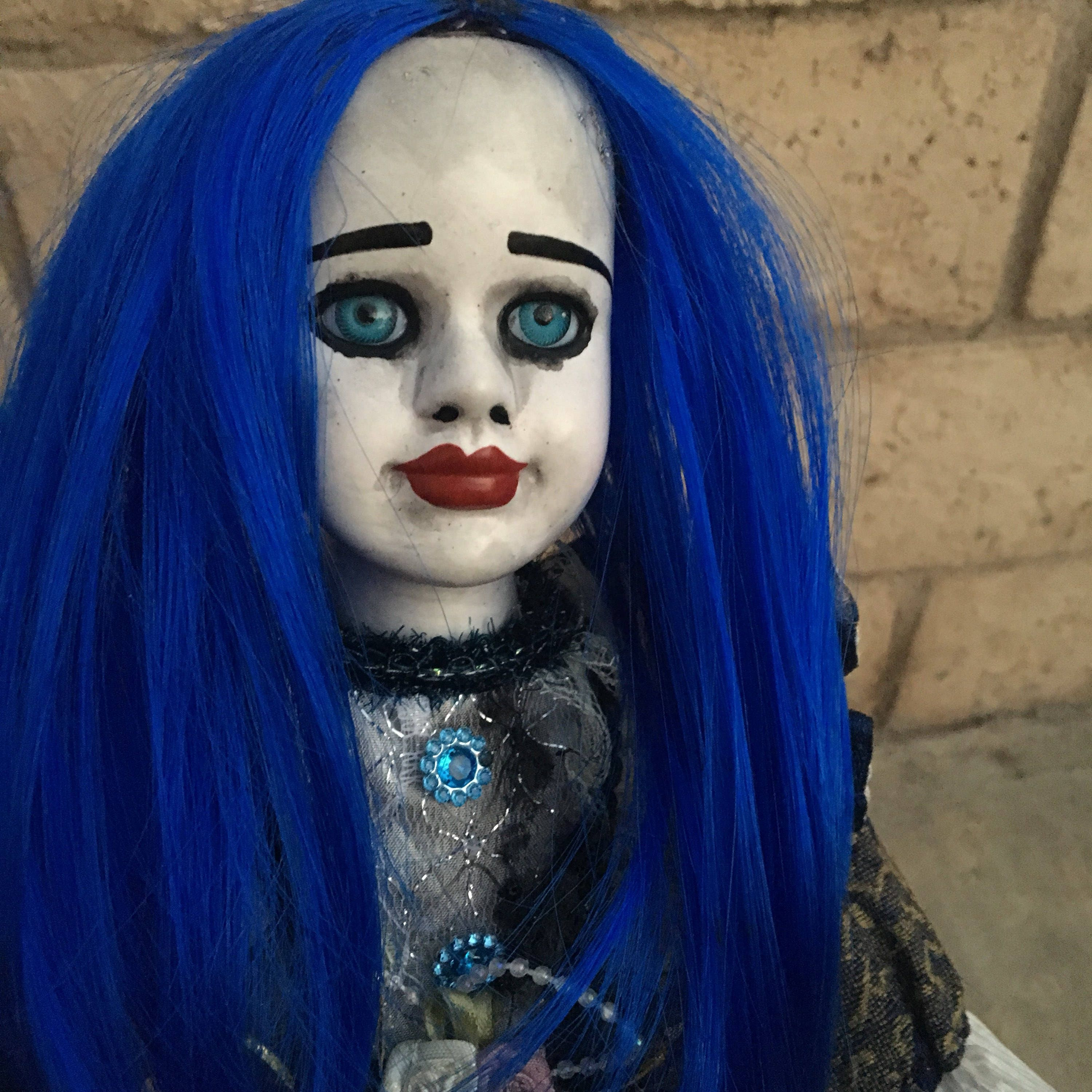art doll ooak doll halloween doll horror doll creepy doll gothic doll porcelain doll custom doll blue hair