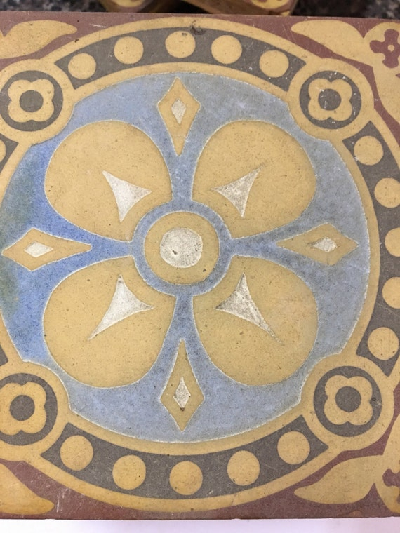 Set of 10 limited edition rare ecaustic clay tiles vintage
