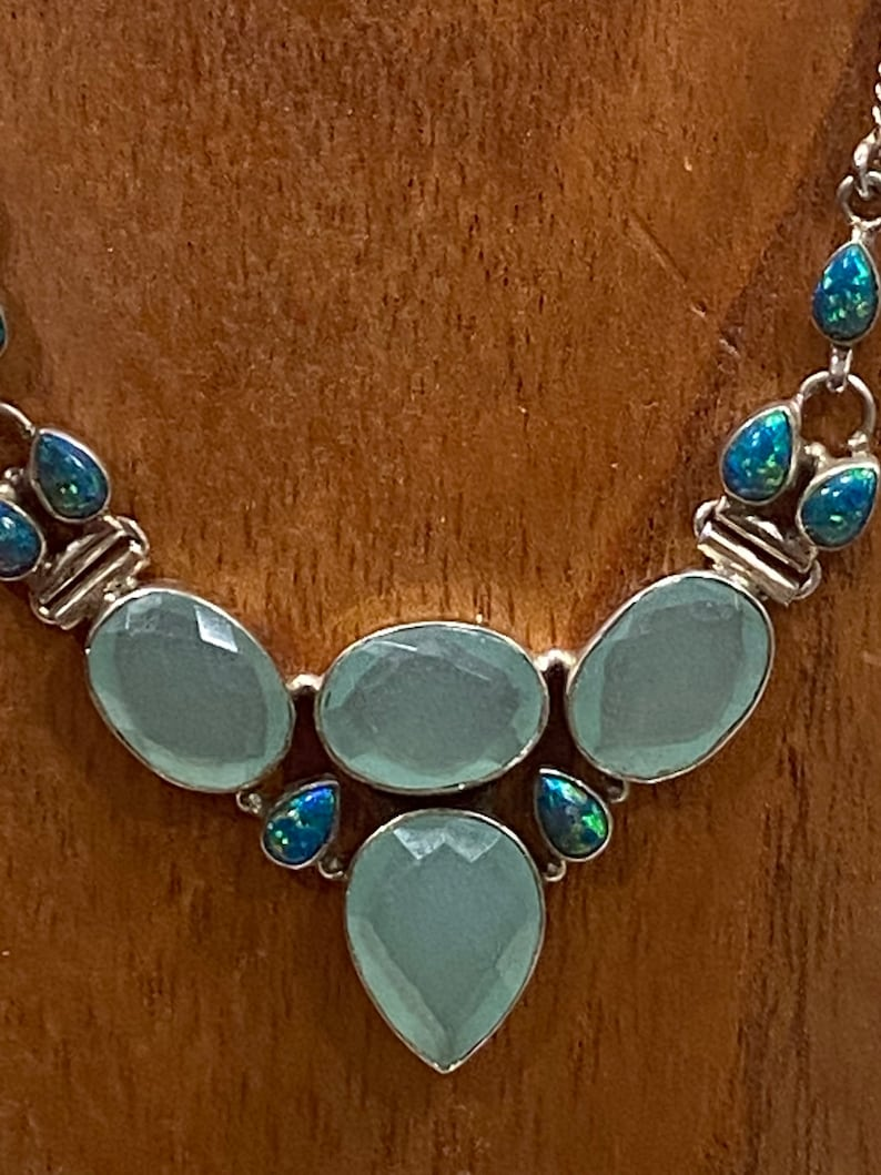 opal and sterling silver necklace Gorgeous  chalcedony