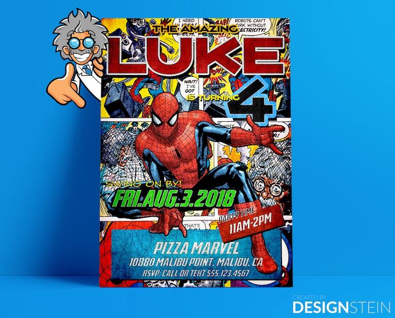Spider Man Comic Birthday Invitation