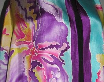Double Iris Silk Scarf 22x90
