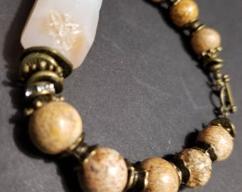 Quartz Agate & Picture Jasper beads with Bronze accents Boho Native American Gypsy Southwest Cowgirl Rustic Earthy Handmade Unique Jewelry