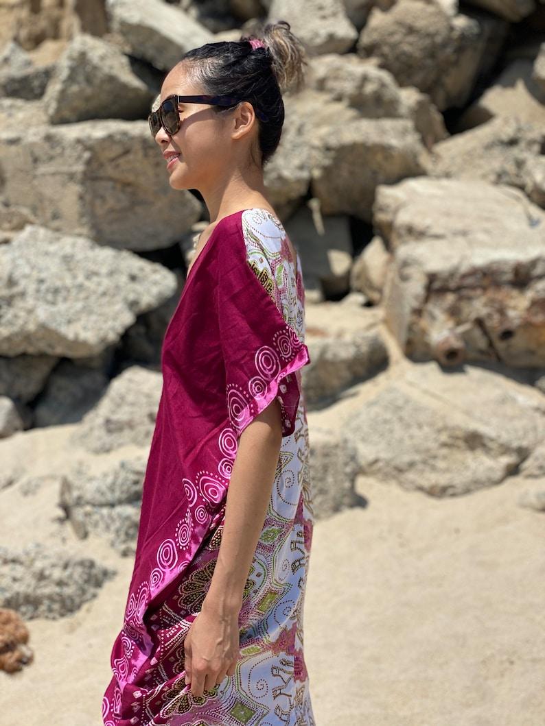 Long Boho Print Maxi Cover Up With Pockets Summer Beach Wear Elephants Plus Size One Size Bikini Swimwear Swimsuit Shirt Dress Bathing Suit