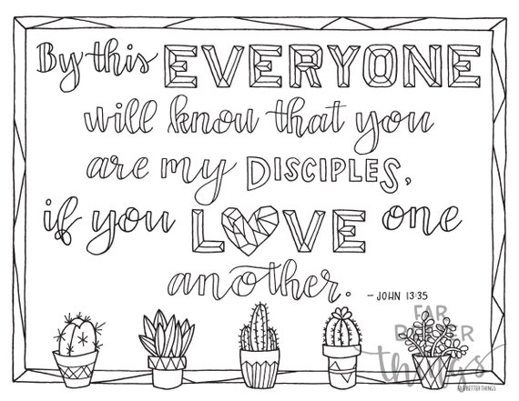 Bible Verse Coloring Page John 1335 Printable Digital