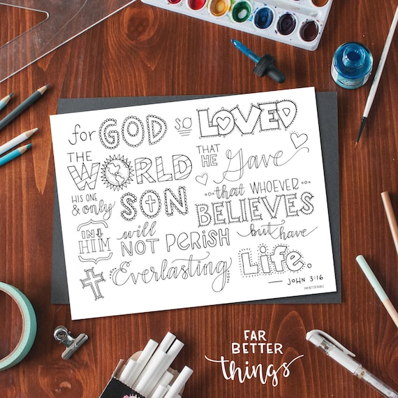 Bible Verse Coloring Page John 3:16 Printable Bible | Etsy