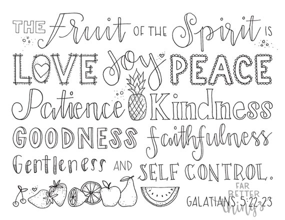 Bible Verse Coloring Page - Fruit of the Spirit - Galatians 5:22-23 -  Printable Bible Coloring Pages, Christian Kids Sunday School Crafts