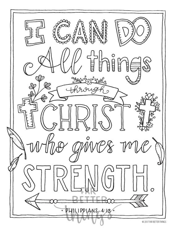 Bible Verse Coloring Page - Philippians 4:13 - Printable Coloring Page -  Bible Coloring Pages - Christian Kids Activity - Christian Coloring