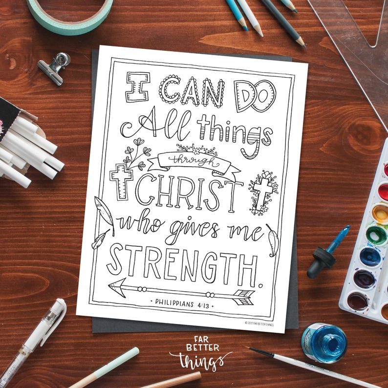 Bible Verse Coloring Page Philippians 4:13 Printable Etsy