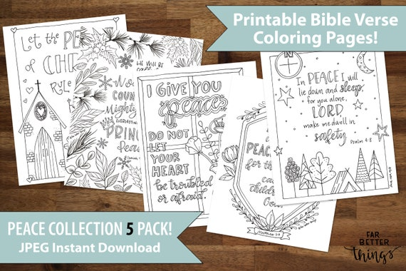 Five Pack Bible Verse Coloring Pages Printable Bible Etsy