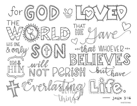 Bible Verse Coloring Page - John 3:16 - Printable Bible Coloring Pages,  Christian Kids Activities, Sunday School Crafts, For God So Loved