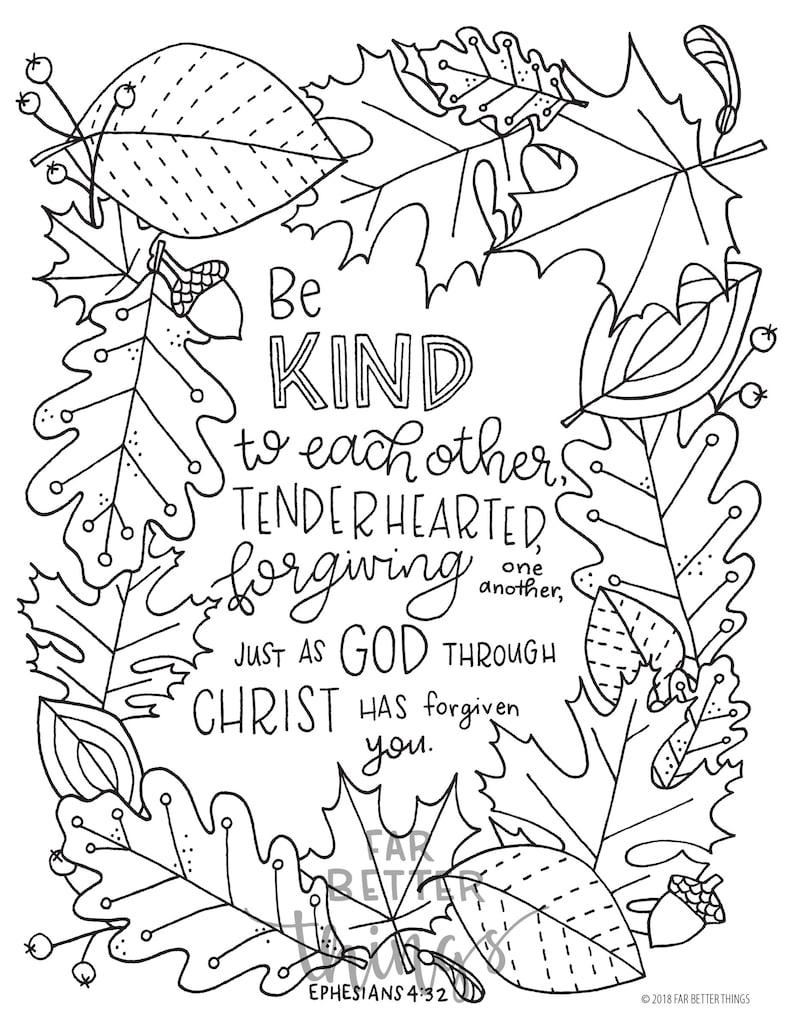 Bible Verse Coloring Page Ephesians 4:32 Printable Digital ...