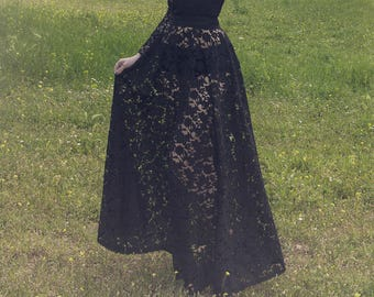 Black lace transparent high waist closs long skirt (Please read the item's details about the measurements)