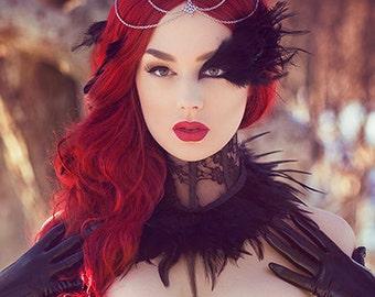 Black lace gothic victorian costume feather neck corset