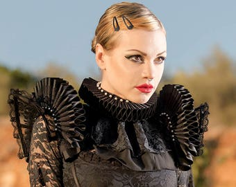 Set/2 pieces: Black lace epaulettes with black elizabethan ruffs & Black Elizabethan collar with black lace and white Preciosa beads
