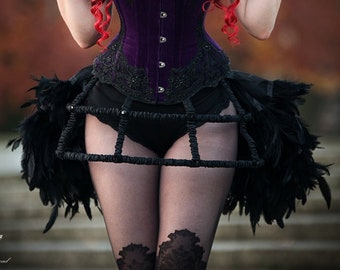 Black taffeta boned gothic victorian crinoline hoop cage skirt decorated with crystals. Available in many colors