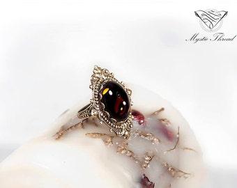 Smoke topaz gem gothic victorian ring