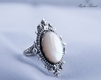 Mother of pearl gem gothic victorian silver ring