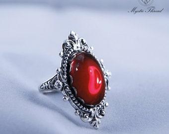 Ruby gem gothic victorian silver ring