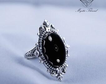 Black agate gem gothic victorian adjustable silver ring