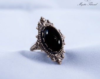 Black agate gem gothic victorian ring
