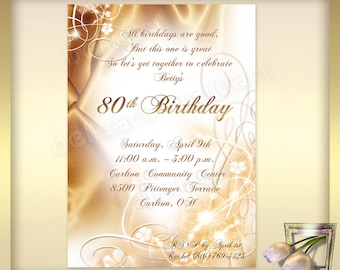 80th Birthday Invitation Template No2