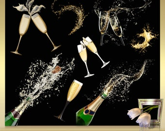 10 champagne clipart vol 2 champagne overlays champagne clip art champagne bottle clip art instant download png images