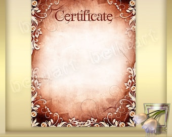 printable certificate template no 7 photoshop template old etsy