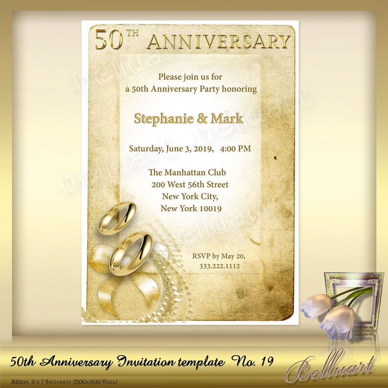 50th Anniversary Invitation Template No19