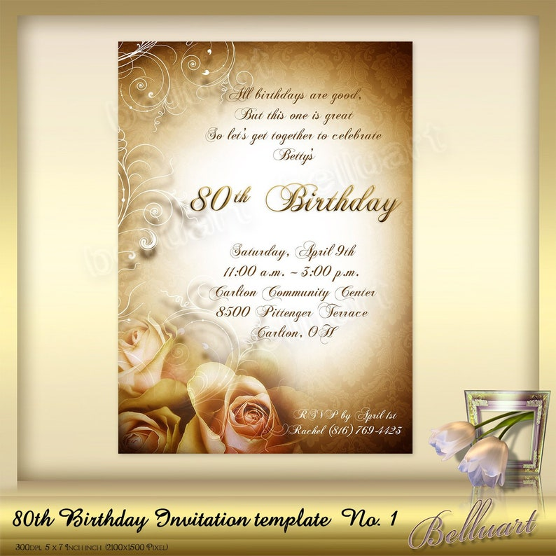 80th Birthday Invitation Template No3 Editable Invite