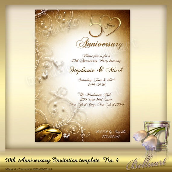 50th Anniversary Invitation Template No 4 Golden Wedding Etsy