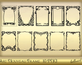 Art Nouveau inspired Frame - Art Nouveau Frame Clipart - Antique Ornate Frame - Art Deco Frames - for creating ephemera- Instant download