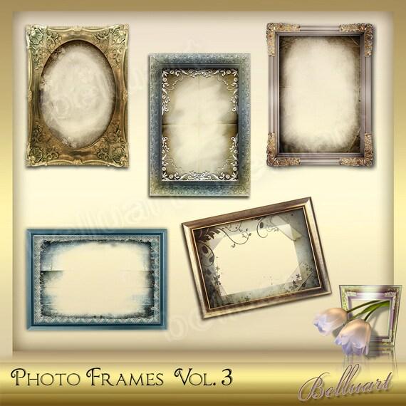 5 Photo Frames Vol1 Vintage Frame Photoshop Digital Etsy