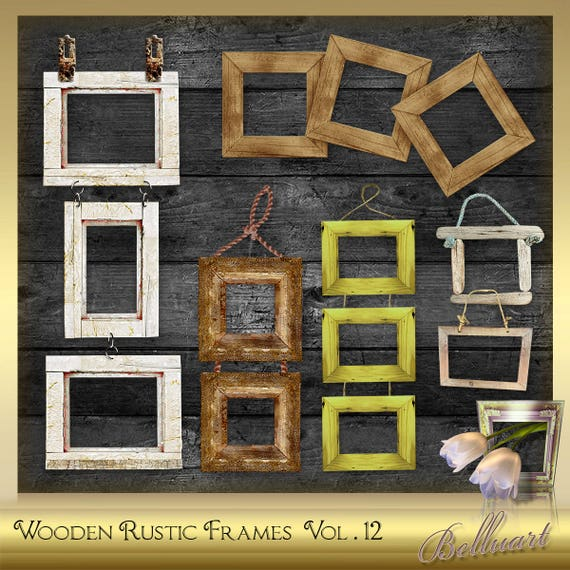 6 Digital Wooden Frames Vol12 Wooden Rustic Picture Frames Etsy