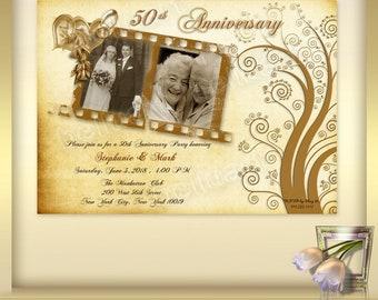 50th Anniversary Invitation Template No 6 Golden Wedding