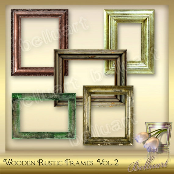 5 Digital Wooden Frames Vol 2 Wooden Rustic Picture Frames Etsy