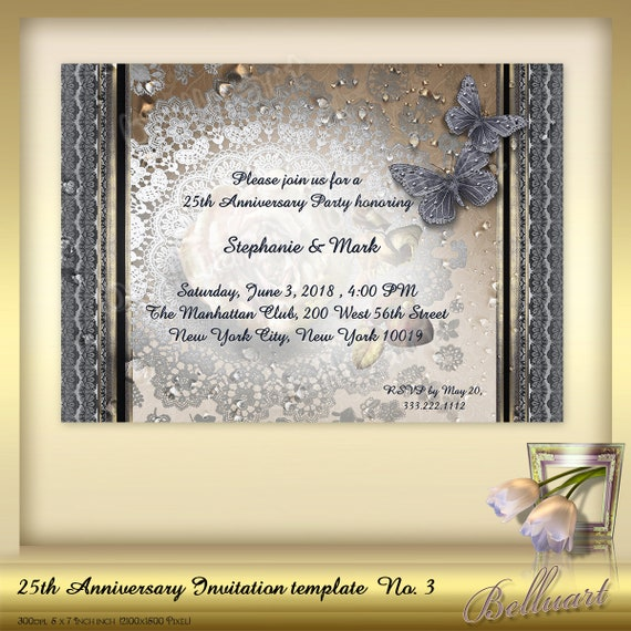 25th Anniversary Invitation Template No 3 Silver Wedding Etsy